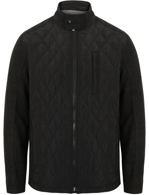 Galchard Quilted Jacket with Wool Blend Sleeves in Charcoal Marl - Dissident