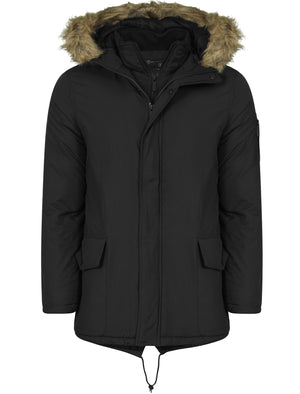 Galligan Mock Insert Fur Hooded Parka Jacket in Dark Charcoal  - Dissident