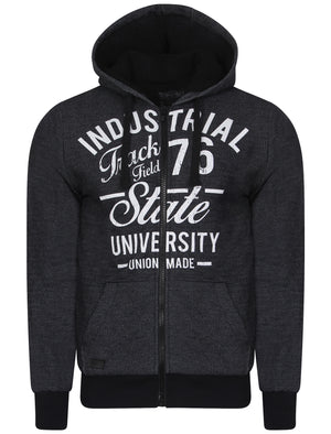 Harrow Borg Lined Zip Through Hoodie in Dark Navy - Dissident