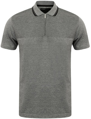 Henstridge Zip Up Jersey Polo Shirt in Mid Grey Marl - Dissident