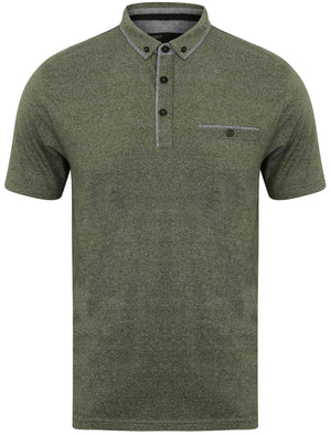 Herald Flecked Cotton Jersey Polo Shirt in Thyme - Dissident