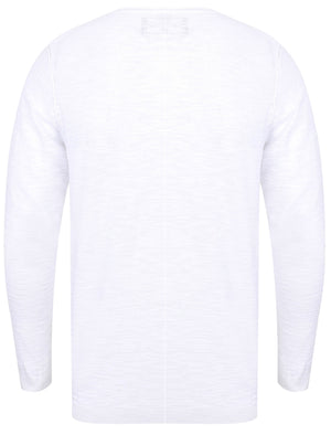 Hoggle Cotton Slub Henley Jumper In Optic White - Dissident