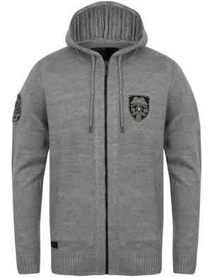 Izy Military Zip Up Hooded Cardigan in Mid Grey Marl - Dissident
