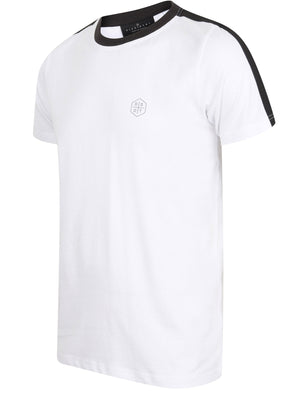 Kara Cotton Jersey T-Shirt with Tape Detail Sleeves In Optic White - Dissident