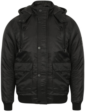 Keble Padded Coat with Detachable Hood in Black - Dissident