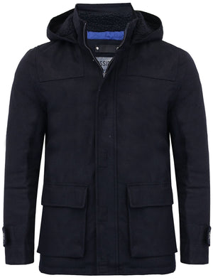 Lackland Wool Rich Hooded Coat in Navy - Dissident