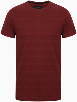 Leake Textured Stripe Cotton T-Shirt In Deep Red - Dissident