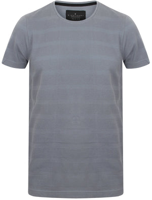 Leake Textured Stripe Cotton T-Shirt In Dusty Blue - Dissident