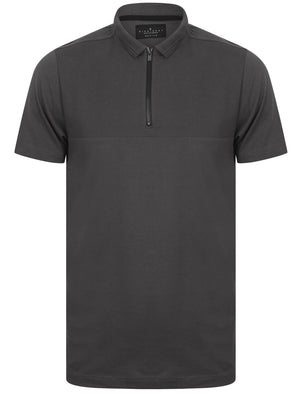 Ligett Textured Polo Shirt with Zip Collar In Asphalt Grey - Dissident