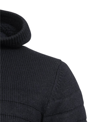 Macedonia Sherpa Lined Knitted Cardigan in Dark Navy - Dissident