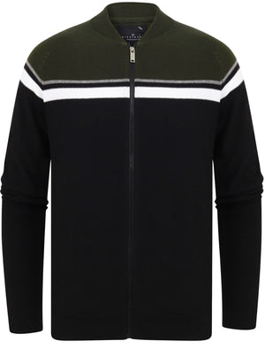 Magic Colour Block Baseball Style Zip Up Cardigan in Black – Dissident