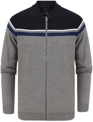 Magic Colour Block Baseball Style Zip Up Cardigan in Mid Grey Marl – Dissident