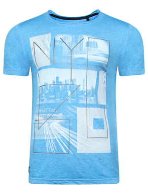 Manhatburn Motif Burnout T-Shirt in Blue Sea – Dissident