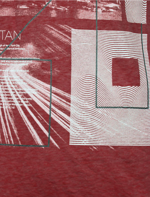 Manhatburn Motif Burnout T-Shirt in Bordeaux - Dissident
