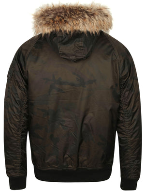 Marius Camo Print Bomber Jacket with Fur Lined Hood in Khaki – Dissident