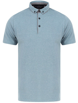 Mayplace 2 Fleck Stripe Cotton Jersey Polo Shirt In Citadel Blue - Dissident