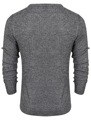 Mellow Crew Neck Knitted Jumper in Black / Optic White - Dissident