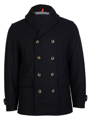 Tehama Wool Blend Double Breasted Coat in Navy - Dissident