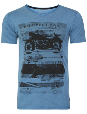 Motlybike Distressed T-Shirt In Vintage Blue - Dissident