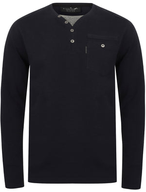 Ngami Cotton Jersey Long Sleeve Top with Mock Layer In Navy - Dissident