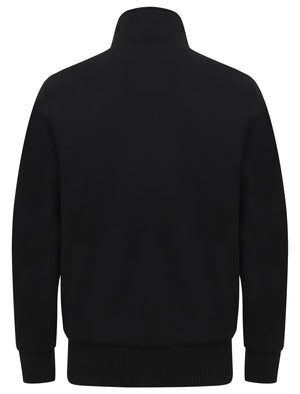 Percy Funnel Neck Zip Through Sweat With Borg Lining In Jet Black - Dissident