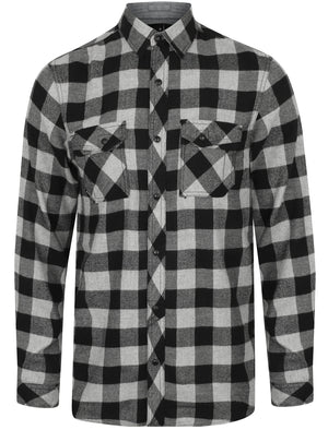 Peres Brushed Cotton Checked Shirt In Light Grey / Charcoal – Dissident