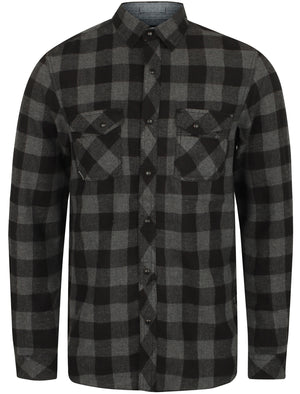 Peres Brushed Cotton Checked Shirt In Mid Grey / Black – Dissident