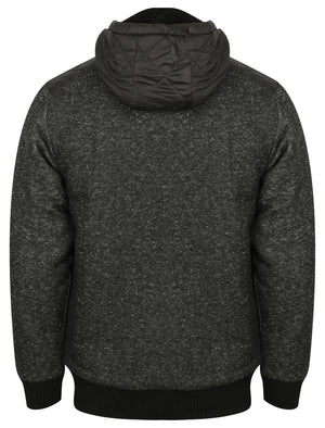 Quilter Borg Lined Zip Through Hoodie with Quilted Panels in Black Fleck – Dissident