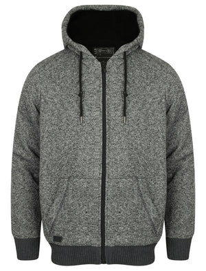 Rammer Zip Through Hoodie with Borg Lining in Charcoal Fleck – Dissident