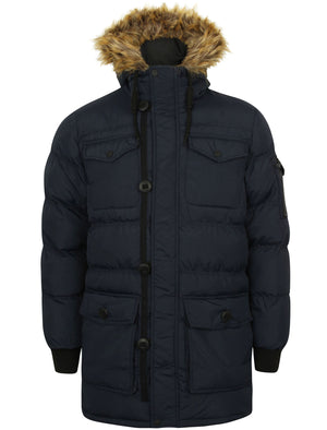 Saxon Quilted Puffer Coat with Hood in True Navy – Dissident