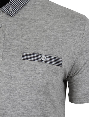 Sewell Gingham Polo Shirt in Grey - Dissident
