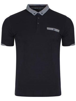 Sewell Gingham Polo Shirt in Navy - Dissident