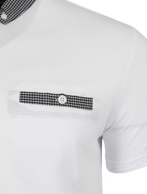 Sewell Gingham Polo Shirt in White - Dissident