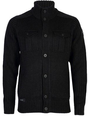 Dissident Steven military cardigan jacket in black