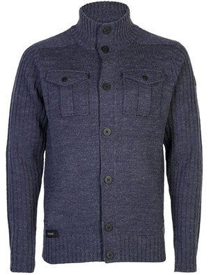 Dissident Steven military cardigan jacket in midnight blue