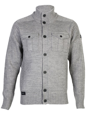 Dissident Steven military cardigan jacket in mid grey