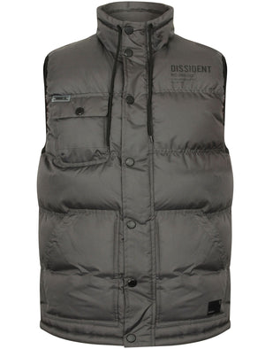 Tacoma Quilted Gilet with Chest Pocket in Asphalt Grey – Dissident