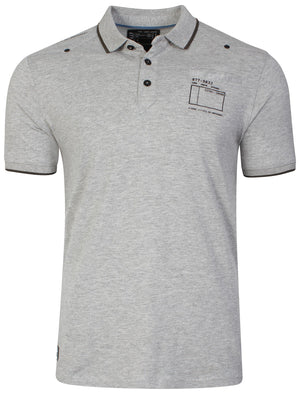 Cotton Polo Shirt in Light Grey Marl - Dissident