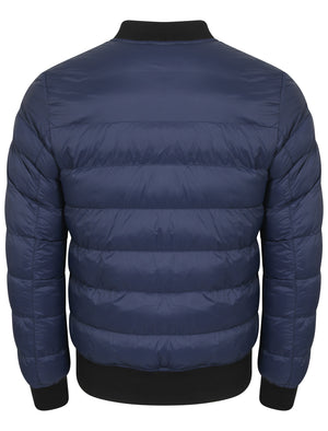 Tinsley Quilted Puffer Bomber Jacket in Midnight Blue - Tokyo Laundry