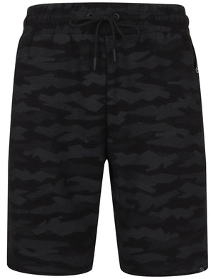 Tracks Jagged Camo Print Jogger Shorts in Black– Dissident