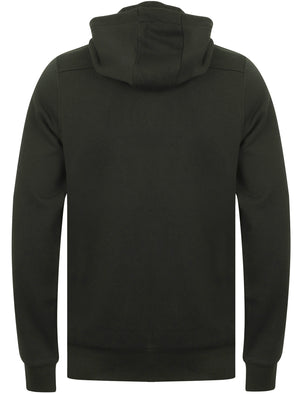 Tromso Zip Through Brush Back Fleece Hoodie In Forest Green - Dissident