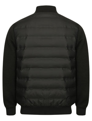 Verde Quilted Bomber Jacket with Jersey Sleeves in Black - Dissident