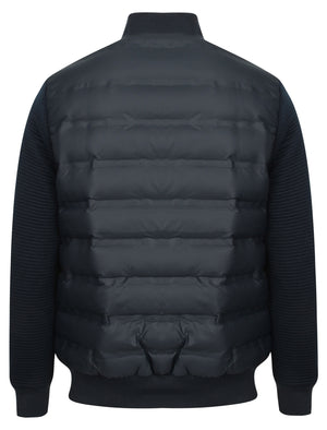 Verde Quilted Bomber Jacket with Jersey Sleeves in True Navy – Dissident