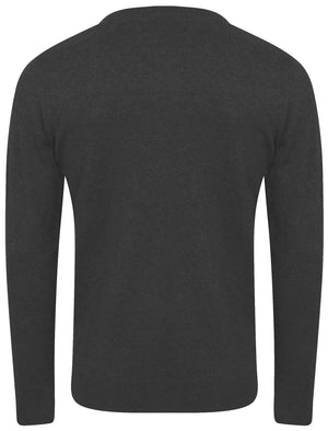 Walenski Mock T- Shirt Insert Knitted Jumper in Charcoal Marl - Dissident