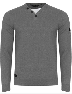 Walenski Mock T- Shirt Insert Knitted Jumper in Mid Grey Marl - Dissident