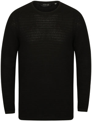 West Crew Neck Textured Jumper in Black - Dissident