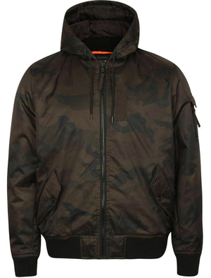 Whitman Camo Print Bomber Jacket with Hood in Khaki – Dissident
