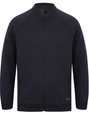 Woden Diamond Quilted Cotton Baseball Jacket in Navy – Dissident