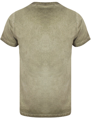 Yasu Motif Burnout Cotton Slub T-Shirt In Khaki - Dissident