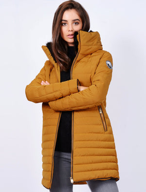 Elva Longline Quilted Puffer Coat in Mustard – Tokyo Laundry